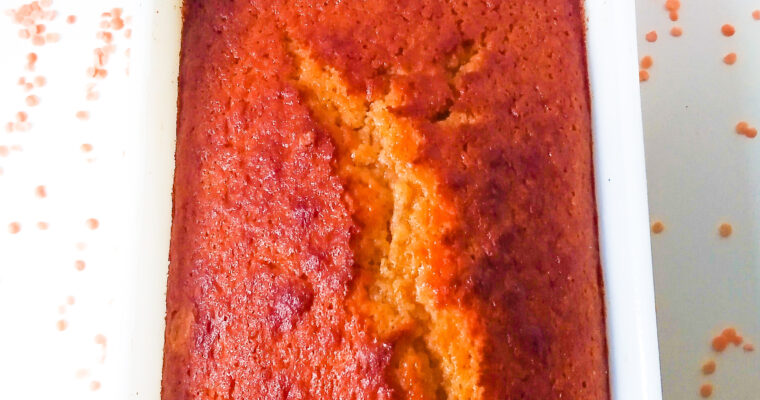 Sweet polenta cake with red lentils and apricot jam (loaf cake)
