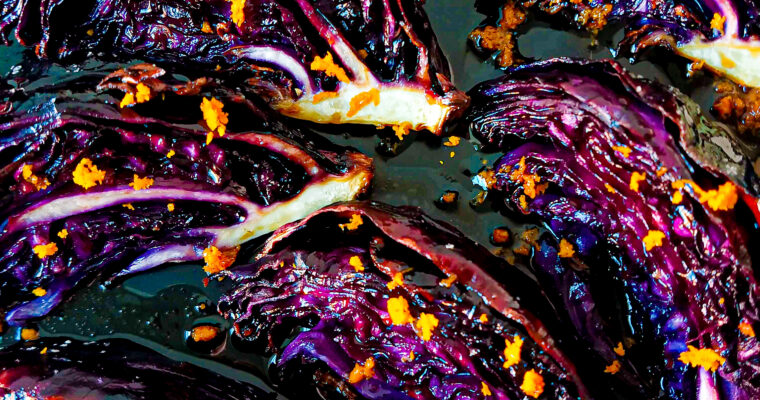 Roasted red cabbage wedges with orange dressing